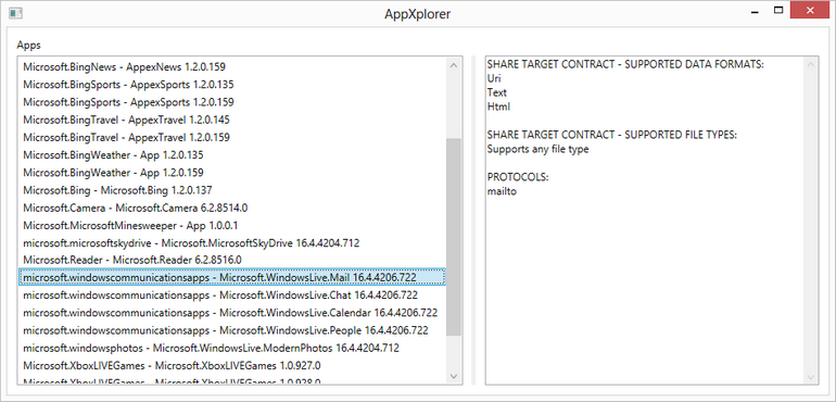 Discovering data formats supported by Windows 8 share contract target apps